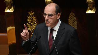 Jean Castex, Premier ministre pendant son discours de politique générale à l'Aseemblée nationale, le 15 juillet 2020. (MARTIN BUREAU / AFP)