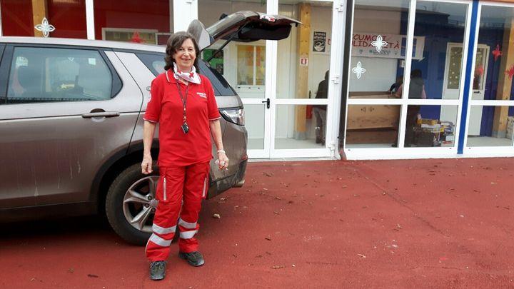 Livia, bénévole de la Croix Rouge, à Amatrice (Italie) en décembre 2016 (RADIO FRANCE / MATHILDE IMBERTY)