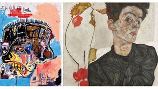 "A gauche, Jean Michel Basquiat, ""Untitled"", 1981, Collection Eli and Edythe L. Broad – A droite Egon Schiele, ""Autoportrait à la lanterne chinoise"", 1912, Leopold Museum, Vienne  (A gauche © Estate of Jean-Michel Basquiat. Licensed by Artestar, New York. Photo : Courtesy of Douglas M. Parker Studio, Los Angeles – A droite photo © Fotografie Leopold Museum Wien )"