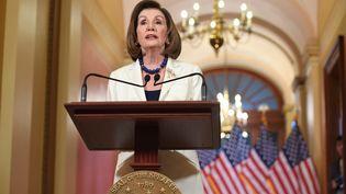 La présidente démocratede la chambre des représentants, Nancy Pelosi, le 5 décembre 2019 à Washington (Etats-Unis). (SAUL LOEB / AFP)