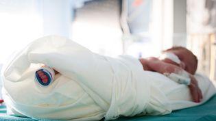 Un bébé prématuré dormant dans un incubateur dans le service de néonatologie de l'hôpital d'Aix-en-Provence, le 6 octobre 2018. (CALMETTES / BSIP / AFP)