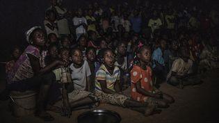 Projection du CinemArena à Alua, village du nord du Mozambique, le 6 juillet 2018. Au programme dessin animé et match de football de la Coupe du monde. (GIANLUIGI GUERCIA / AFP)