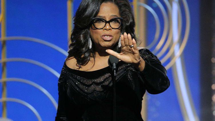 Oprah Winfrey lors de son discours d'acceptation du prixCecil B. DeMille à la 75e cérémonie des Golden Globes, le 7 janvier 2018. (PAUL DRINKWATER / SIPA / AP)