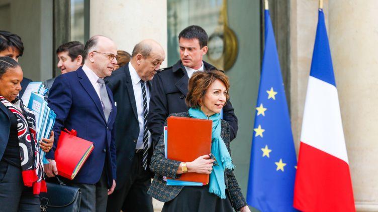 A la sortie du Conseil des ministres, à l'Elysée, le 1er avril 2015. (JALLAL SEDDIKI / CITIZENSIDE.COM / AFP)