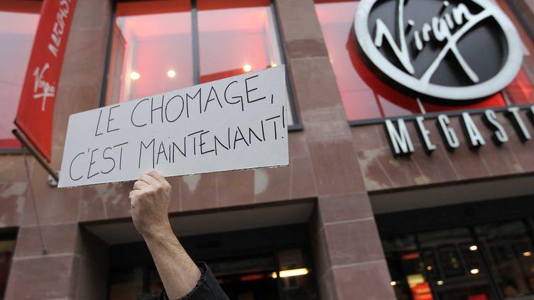 Des employés du Virgin Megastore de Strasbourg (Bas-Rhin) font grève, le 9 janvier 2013. (G. VARELA / 20 MINUTES / SIPA)