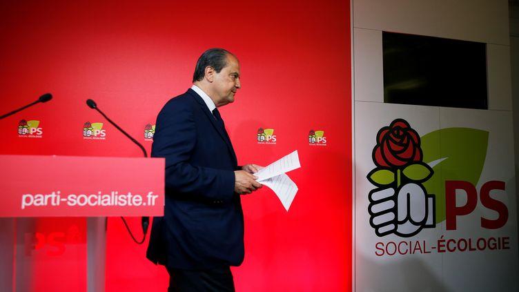 Jean-Christophe Cambadélis, après les résultats du premier tour au siège du Parti socialiste, le 11 juin 2017. (GEOFFROY VAN DER HASSELT / AFP)