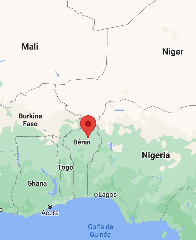 Le Nord du Bénin, région frontalière du Burkina, du Niger et du Nigeria où sont implantés des groupes extrémistes. (GOOGLE MAPS)