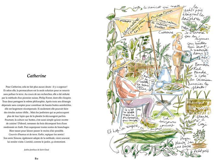 Catherine s'initie à la permaculture dans les jardins familiaux de Saint-Cloud. (ISABELLE MORAND / RBB / RADIO FRANCE / FRANCE INFO)
