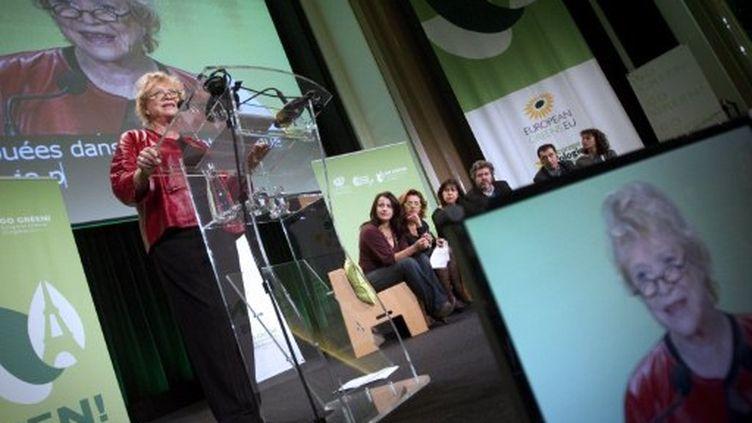 Eva Joly prend la parole au Congrès européen des écolgiste, à Paris, le 12 novembre 2011. (AFP - JOEL SAGET)