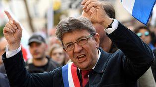 Jean-Luc Mélenchon, leader le La France insoumise, lors d'une manifestation, le 23 septembre 2017, à Paris. (CHRISTOPHE ARCHAMBAULT / AFP)