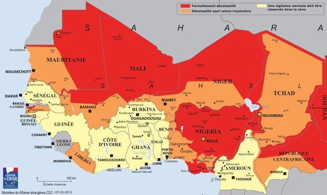 Les zones en rouge sont formellement déconseillées, celles en orange sont déconseillées sauf raison impérative et une vigilance normale doit être observée dans les zones en jaune. (MINISTERE DES AFFAIRES ETRANGERES / FRANCETV INFO)