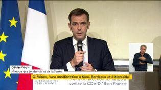 Olivier Véran, le ministre de la Santé, lors d'une conférence de presse, à Paris, le 1er octobre 2020. (FRANCEINFO)