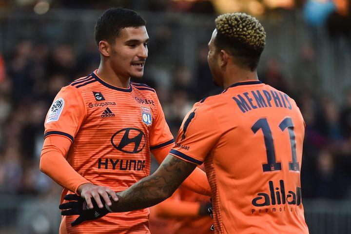 Aouar et Memphis buteurs face à Angers (JEAN-FRANCOIS MONIER / AFP)