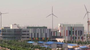 Les éoliennes parsèment partout le paysage urbain de Tianjin (AFP)