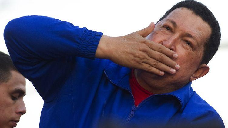 Le président vénézuélien, Hugo Chavez, lors d'un meeting, le 28 septembre 2012 dans l'Etat de Monagas. (JUAN BARRETO / AFP)