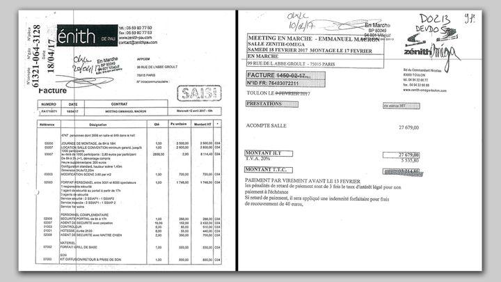 A gauche, la facture du zénith de Pau, très détaillée, fait 3 pages, à droite celle de Toulon ne comporte qu'une seule ligne (CAPTURE D'ÉCRAN)