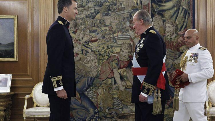 Juan Carlos (à droite) et le futur roi Felipe VI, le 19 juin 2014, à Madrid. (ZIPI / AFP)