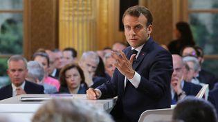 Emmanuel Macron, jeudi 25 avril 2019 lors de sa conférence de presse organisée à l'Elysée. (LUDOVIC MARIN / AFP)
