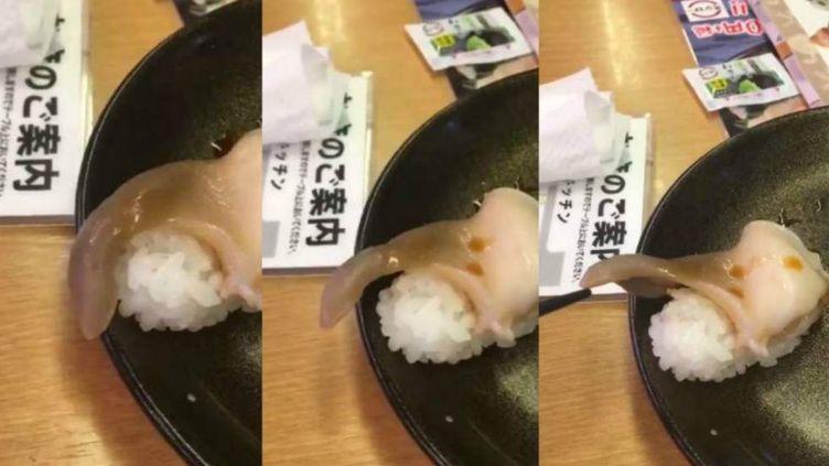 Captures d'écran d'une vidéo de sushi publiée le 11 février 2018 sur Twitter. (SHOUMIZO3446 / TWITTER)