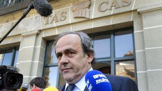 Le président de l'UEFA, Michel Platini, le 29 avril 2016 à Lausanne (Suisse). (FABRICE COFFRINI / AFP)