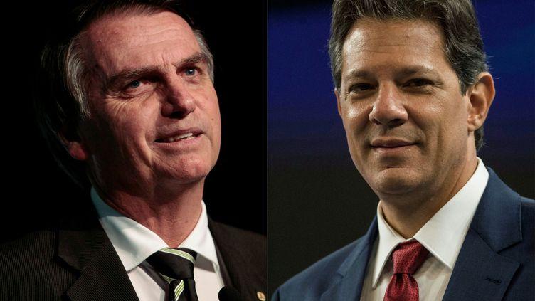 Les deux finalistes de l'élection présidentielle du Brésil, Jair Bolsonaro et Fernando Haddad. (MIGUEL SCHINCARIOL / AFP)