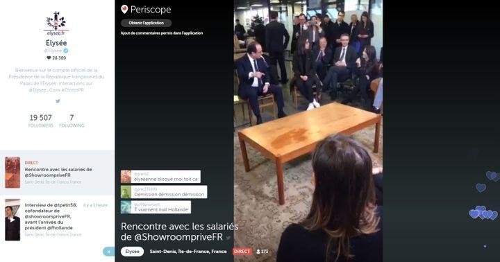 Capture d'écran des commentaires sur Periscope lors de la visitede François Hollande à l'entreprise Showroom privé en Seine-Saint-Denis, le 1er mars 2016. (Periscope)