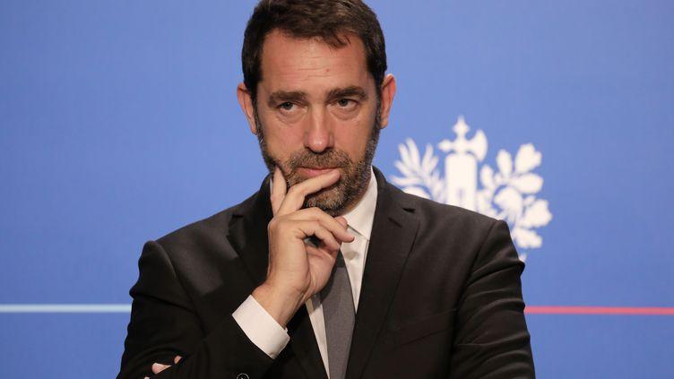 Christophe Castaner participe à son point presse hebdomadaire, le 15 novembre 2017, à l'Elysée, à Paris. (LUDOVIC MARIN / AFP)