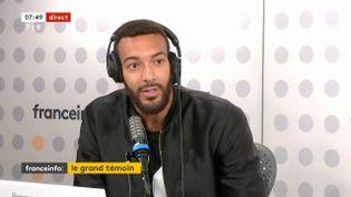 Rudy Gobert,vice-champion olympique avec l'équipe de France de basket, était l'invité de franceinfo le jeudi 16 septembre. (FRANCEINFO / RADIOFRANCE)