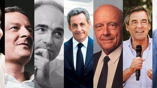 Les sept affiches des candidats à la primaire à droite (MONTAGE ROBIN PRUDENT / FRANCEINFO)