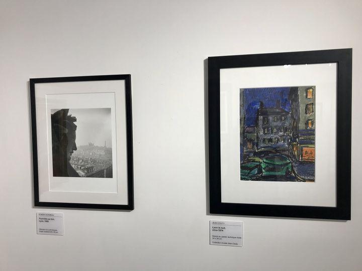 Deux visions de Lyon, à gauche photo de Robert Doisneau de 1950, à droite dessin au pastel de Jean Couty de 1974 (O. Morain)
