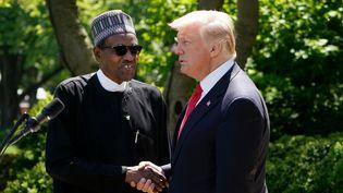 Poignée de main entre Donald Trump et le président nigérian Muhammadu Buhari, lors d'une conférence de presse à Washington, le 30 avril 2018. (MANDEL NGAN / AFP)