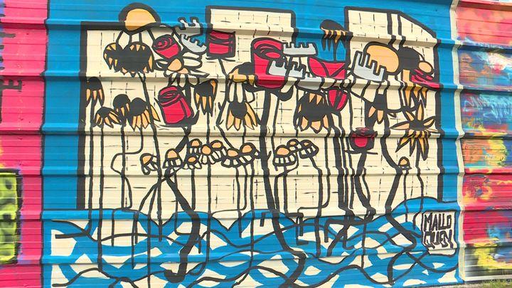 Détail de la fresque des artistes du Collectif Arty show à Nantes pour le projet Skyhome. (A. Ropert /  France Télévisions)