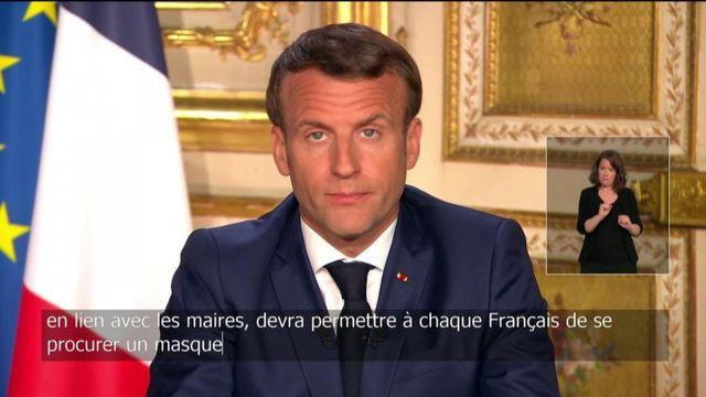 """""""L'Etat devra permettre à chaque Français de se procurer un masque"""", déclare Macron"""