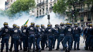 Les forces de l'ordre prennent position lors de la manifestation du 12 mai2016 contre la loi Travail, entre la place Denfert-Rochereau et celle des Invalides, à Paris. (CYRIL ABAD / HANS LUCAS / AFP)