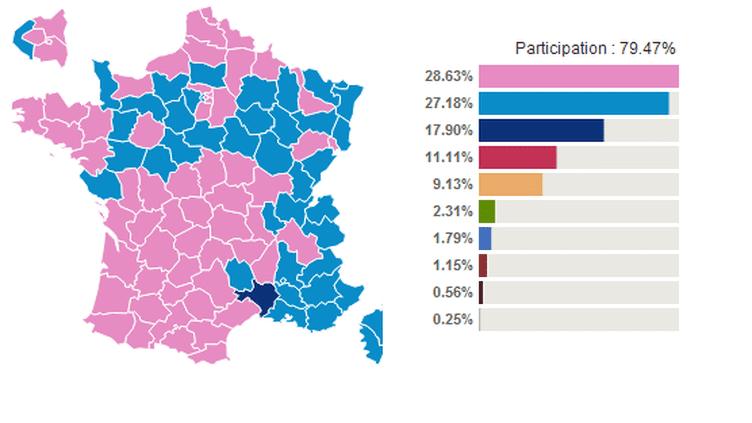 Les résultats du premier tour de la présidentielle 2012. A gauche, selon les départements, et à droite, au niveau national. (FTVI)