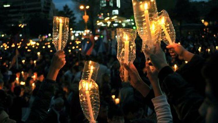 Commémoration du 99e anniversaire du génocide arménien, le 23 avril 2014à Erevan, en Arménie. (AFP PHOTO / KAREN MINASYAN)