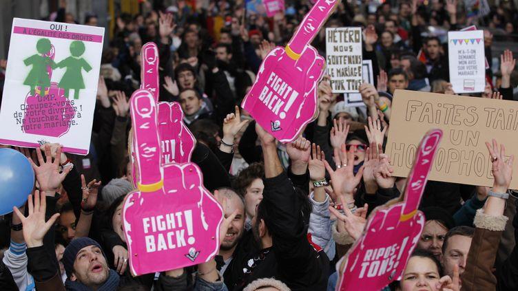 Des manifestants en faveur du projet de loi permettant le mariage des couples homosexuels, défilent à Nantes, le 15 décembre 2012. (STEPHANE MAHE / REUTERS )