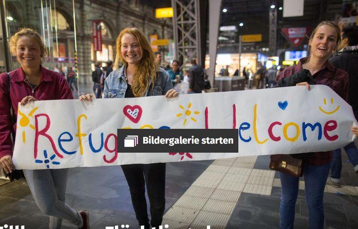 "(L'image originale montrant la pancarte ""Refugees welcome"" © Franck Rumpenhorst / dpa Bildfunk)"