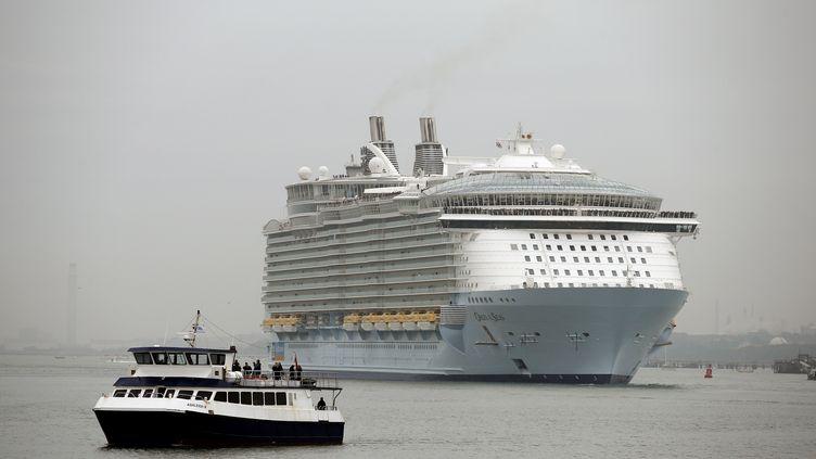 """L'""""Oasis of the Seas"""" arrive dans le port de Southampton (Royaume-Uni), le 15 octobre 2014. (ADRIAN DENNIS / AFP)"""