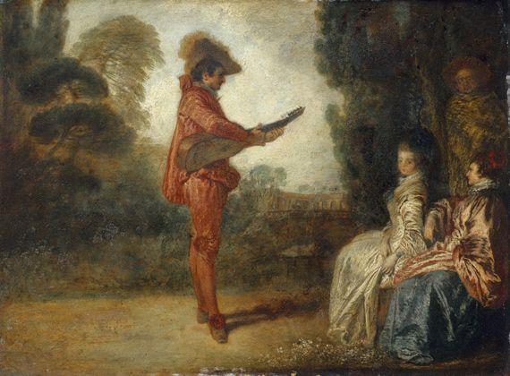 """Antoine Watteau, """"L'Enchanteur"""". Huile sur cuivre. Troyes, musée des Beaux-Arts. (RMN-GRAND PALAIS - JEAN SCHORMANS)"""