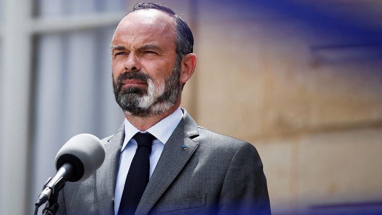 Le Premier ministre Edouard Philippe lors de son intervention à Matignon, le 22 mai 2020. (BENOIT TESSIER / AFP)
