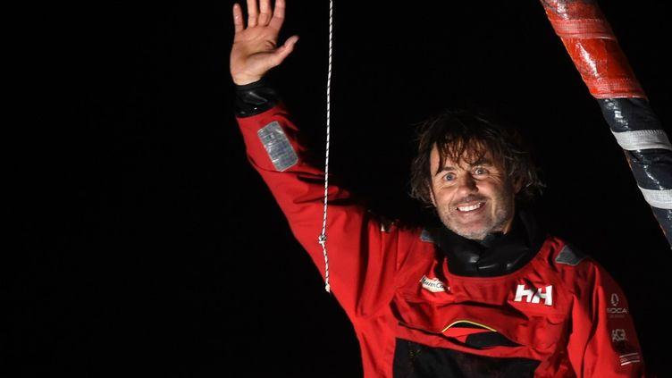Yannick Bestaven, le vainqueur du Vendée Globe à son arrivée aux Sables-d'Olonne. (JEAN-FRANCOIS MONIER)