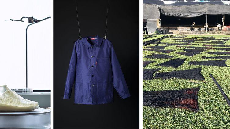 Sneaker dont la tige est réalisée à partir de cellulose produite par la bactérie k.rhaeticus,Bleu de travail Lafont (2019) en coton moleskine, exposition Sophie Hong (@Jen Keane, This is grown, 2018/Mucem - Marianne Kuhn. Sophie Hong)