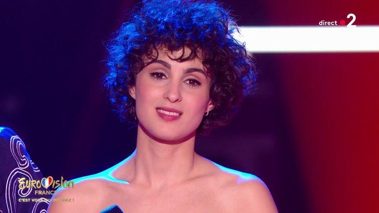 La chanteuse Barbara Pravi représentera la France à l'Eurovision 2021 à Rotterdam (Pays-Bas). (FRANCE 2)
