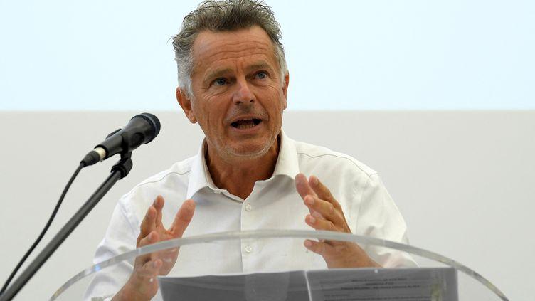 Fabien Roussel, secrétaire général du PCF, lors d'unde l'université d'été de son parti àAix-en-Provence (Bouches-du-Rhône), le 28 août 2021. (NICOLAS TUCAT / AFP)