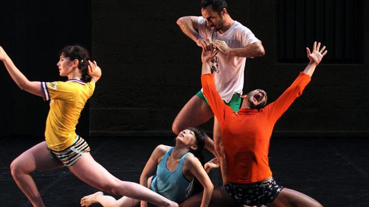 Choregraphie de Anjelin Preljocaj intitulee Empty moves (parts 1, 2 et 3) jouee dans le cadre de la 34e edition du festival Montpellier Danse a l'Agora et interpretee par les danseurs Virginie Caussin, Sergio Diaz, Yan Giraldou et Yurià (Tsugawa IP3 PRESS/MAXPPP)