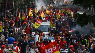 Des cheminots manifestent lors d'une journée de grève, le 4 juin 2019 à Paris. (MAXPPP)