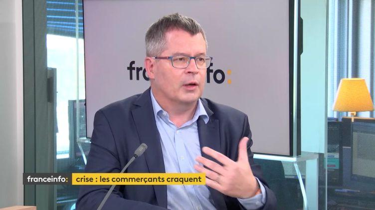 Emmanuel Le Roch, délégué général de Procos, Fédération pour la promotion du commerce spécialisé, le 22 avril 2021 sur franceinfo (CAPTURE D'ECRAN/FRANCEINFO)