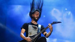Christian Andreu du groupe de heavy metal Gojiraen concert au Rock festival à Rio de Janeiro, Brésil 19 septembre 2015