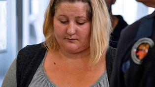 Cécile Bourgeon, la mère de la petite Fiona, le 5 septembre 2016 à la cour d'assises de Riom (Puy-de-Dôme). (THIERRY ZOCCOLAN / AFP)